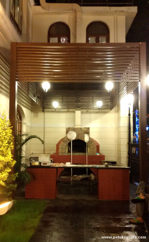 The wood fired pizza oven just outside the restaurant